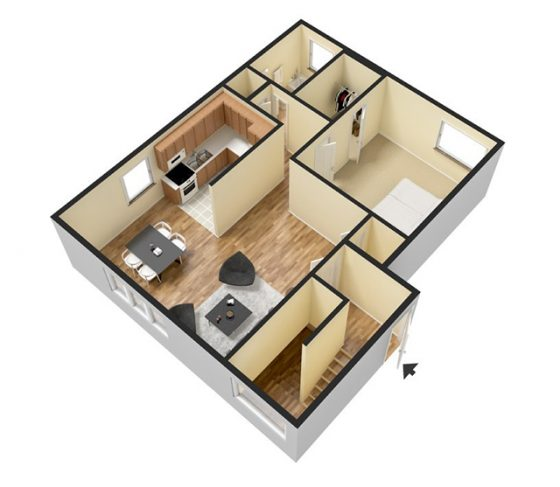 1 Bedroom 1 Bathroom. 700 sq. ft. 3D Furnished