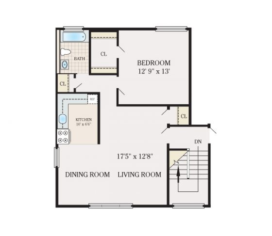 1 Bedroom 1 Bathroom. 700 sq. ft.