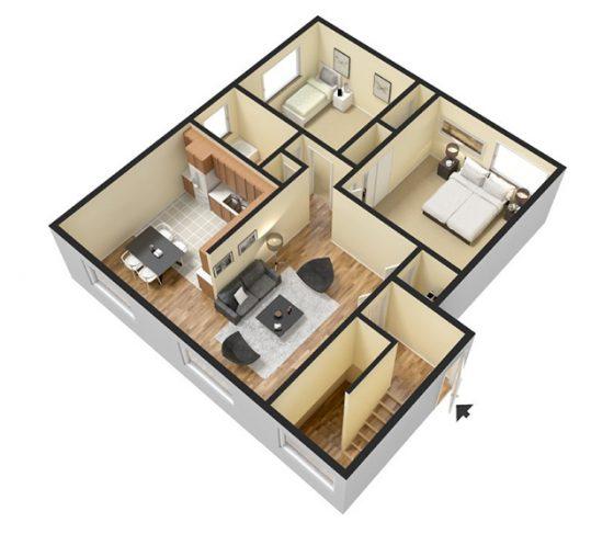 2 Bedroom 1 Bathroom. 780 sq. ft.