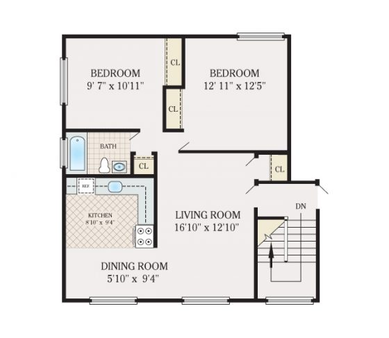 2 Bedroom 1 Bathroom. 780 sq. ft. 3D Furnished